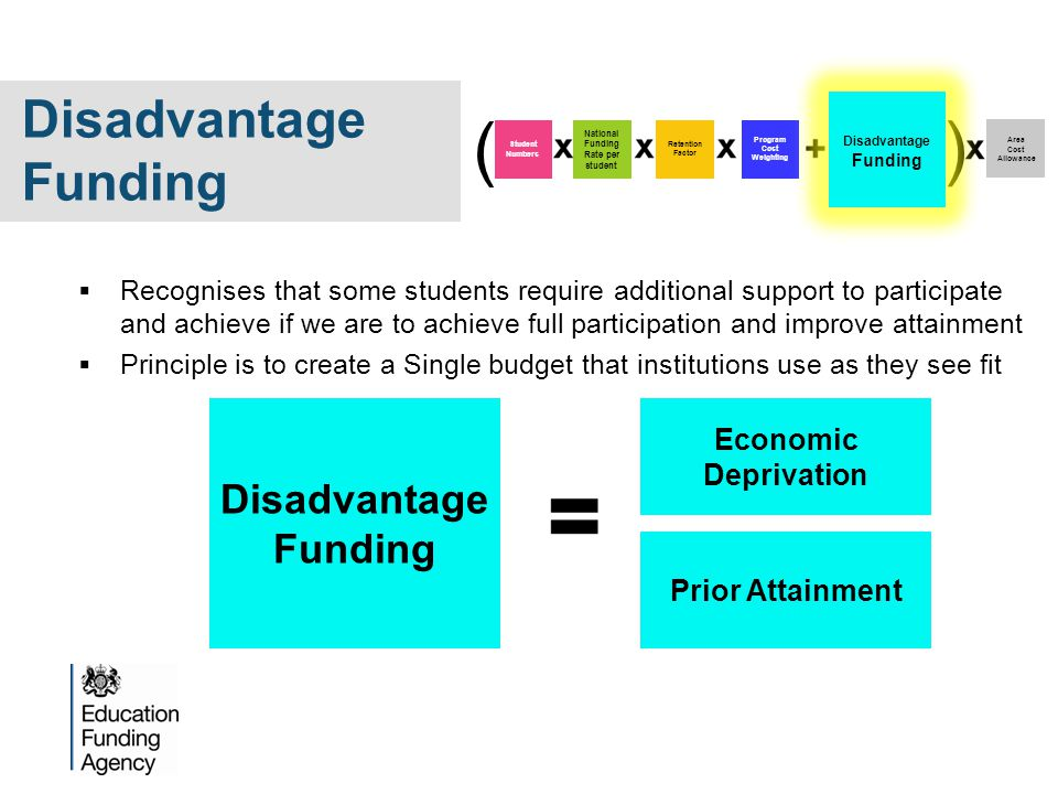  Recognises that some students require additional support to participate and achieve if we are to achieve full participation and improve attainment  Principle is to create a Single budget that institutions use as they see fit Disadvantage Funding Economic Deprivation Prior Attainment Program Cost Weighting Area Cost Allowance Student Numbers National Funding Rate per student Retention Factor ( ) Disadvantage Funding