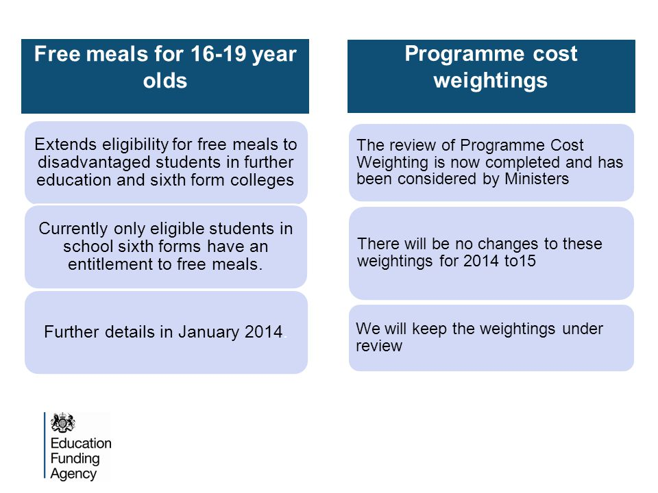 Free meals for 16-19 year olds Extends eligibility for free meals to disadvantaged students in further education and sixth form colleges Currently only eligible students in school sixth forms have an entitlement to free meals.