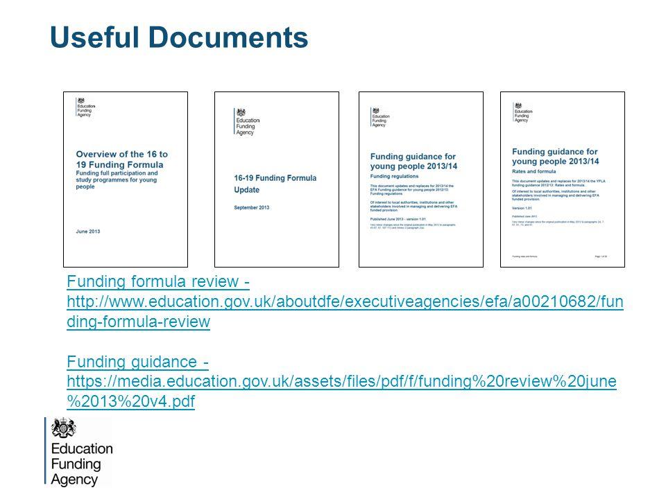 Useful Documents Funding formula review - http://www.education.gov.uk/aboutdfe/executiveagencies/efa/a00210682/fun ding-formula-review Funding guidance - https://media.education.gov.uk/assets/files/pdf/f/funding%20review%20june %2013%20v4.pdf
