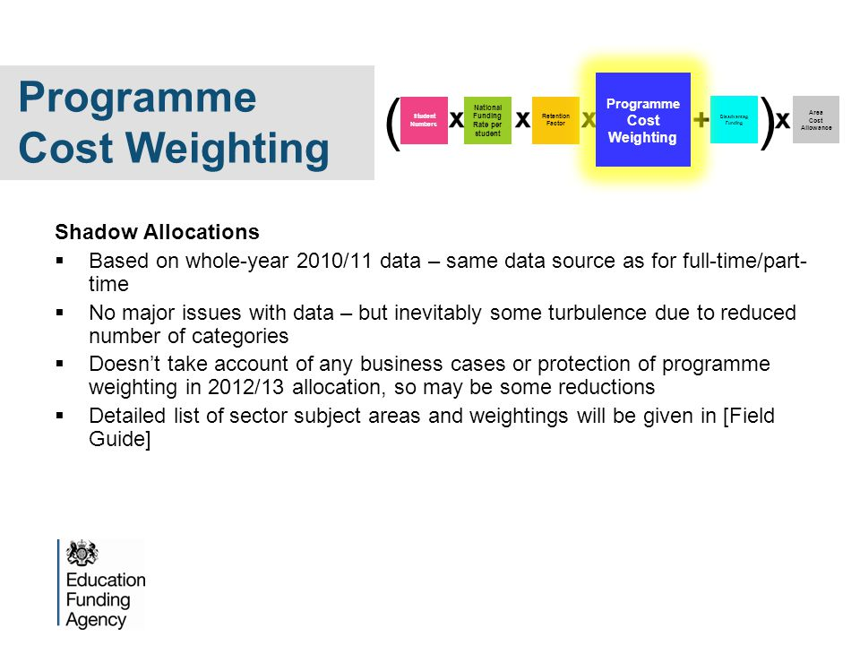 Shadow Allocations  Based on whole-year 2010/11 data – same data source as for full-time/part- time  No major issues with data – but inevitably some turbulence due to reduced number of categories  Doesn't take account of any business cases or protection of programme weighting in 2012/13 allocation, so may be some reductions  Detailed list of sector subject areas and weightings will be given in [Field Guide] Disadvantag Funding Area Cost Allowance Student Numbers National Funding Rate per student Retention Factor ( ) Programme Cost Weighting