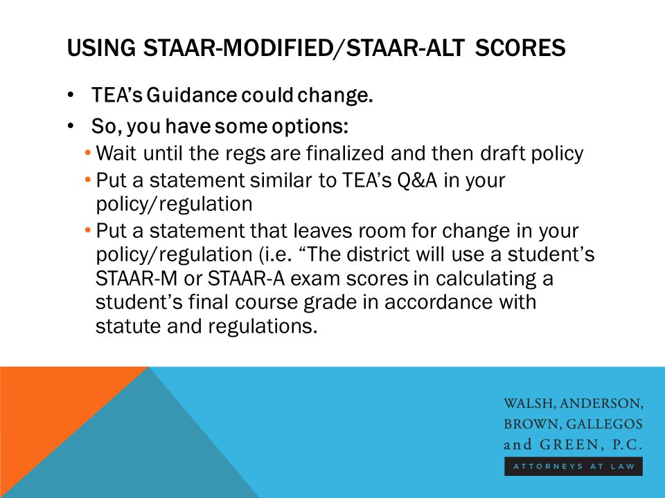 USING STAAR-MODIFIED/STAAR-ALT SCORES TEA's Guidance could change.
