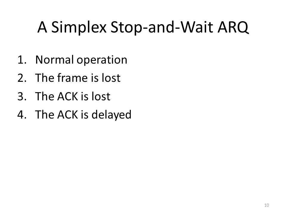 10 A Simplex Stop-and-Wait ARQ 1.Normal operation 2.The frame is lost 3.The ACK is lost 4.The ACK is delayed