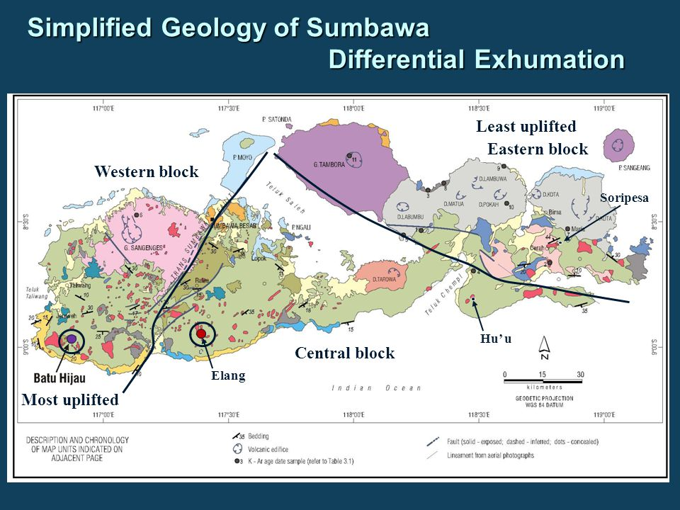 Simplified Geology of Sumbawa Differential Exhumation Elang Hu' u Soripesa Most uplifted Western block Central block Eastern block Least uplifted