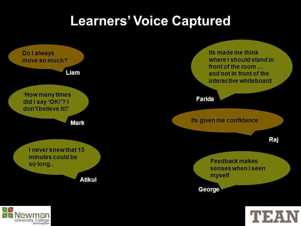 Learners' Voice Captured Do I always move so much.