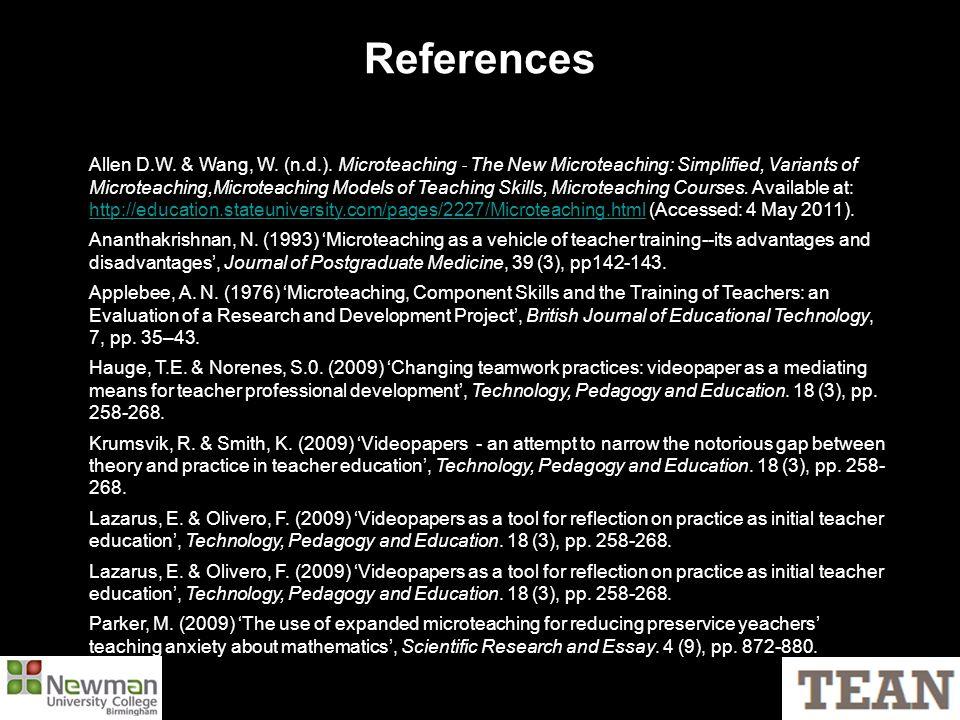 References Allen D.W. & Wang, W. (n.d.).