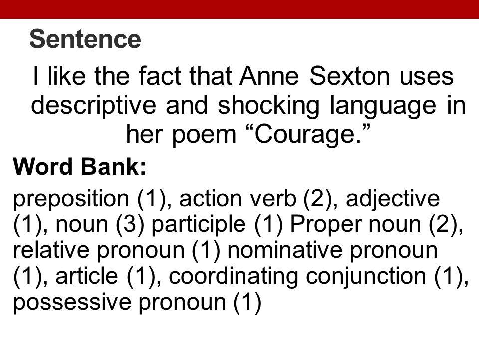 Sentence I like the fact that Anne Sexton uses descriptive and shocking language in her poem Courage. Word Bank: preposition (1), action verb (2), adjective (1), noun (3) participle (1) Proper noun (2), relative pronoun (1) nominative pronoun (1), article (1), coordinating conjunction (1), possessive pronoun (1)