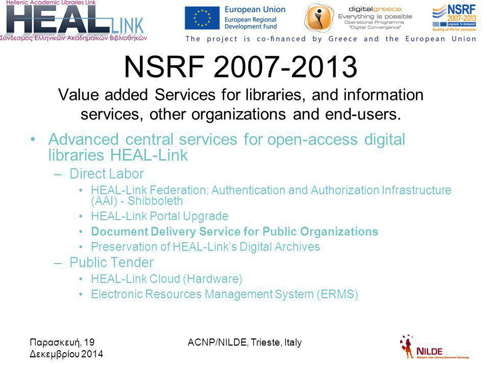 Advanced central services for open-access digital libraries HEAL-Link –Direct Labor HEAL-Link Federation: Authentication and Authorization Infrastructure (AAI) - Shibboleth HEAL-Link Portal Upgrade Document Delivery Service for Public Organizations Preservation of HEAL-Link's Digital Archives –Public Tender HEAL-Link Cloud (Hardware) Electronic Resources Management System (ERMS) NSRF 2007-2013 Value added Services for libraries, and information services, other organizations and end-users.