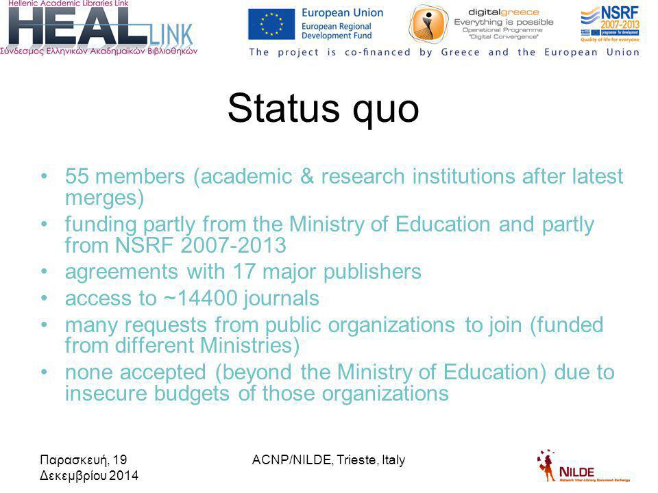 55 members (academic & research institutions after latest merges) funding partly from the Ministry of Education and partly from NSRF 2007-2013 agreements with 17 major publishers access to ~14400 journals many requests from public organizations to join (funded from different Ministries) none accepted (beyond the Ministry of Education) due to insecure budgets of those organizations Status quo Παρασκευή, 19 Δεκεμβρίου 2014 ACNP/NILDE, Trieste, Italy