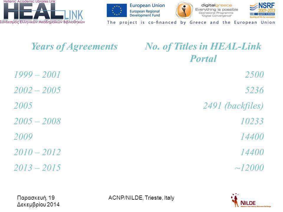 Παρασκευή, 19 Δεκεμβρίου 2014 Years of AgreementsNo.