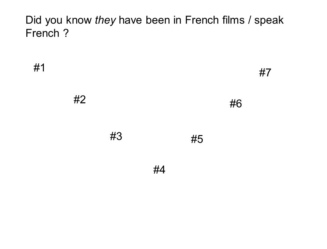 Did you know they have been in French films / speak French ? #1 #2 #3 #4 #5 #6 #7