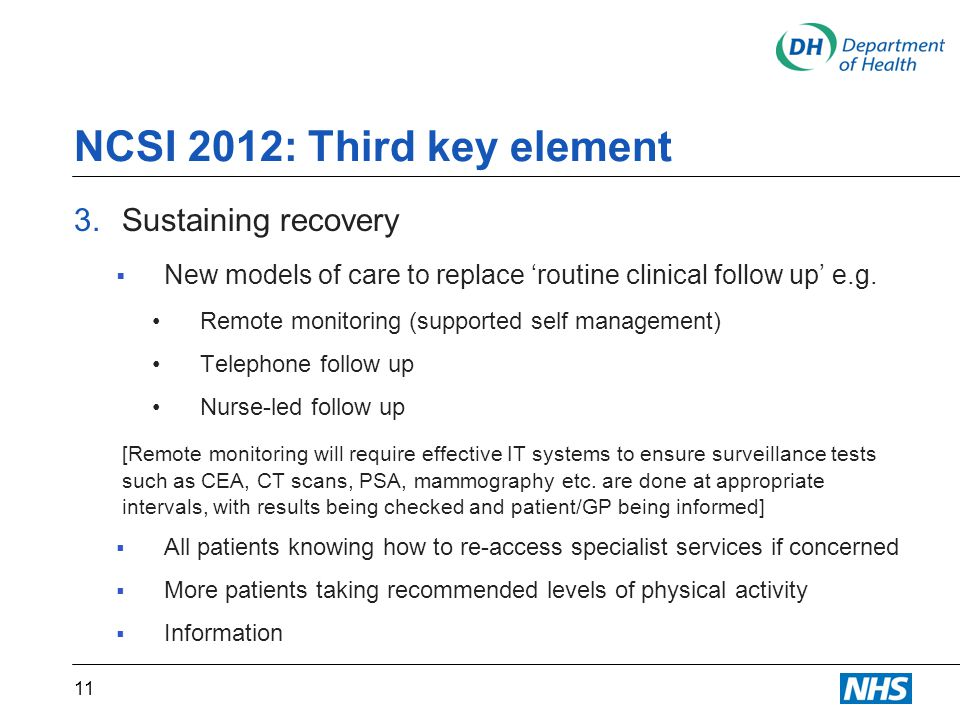 NCSI 2012: Third key element 3.Sustaining recovery  New models of care to replace 'routine clinical follow up' e.g.