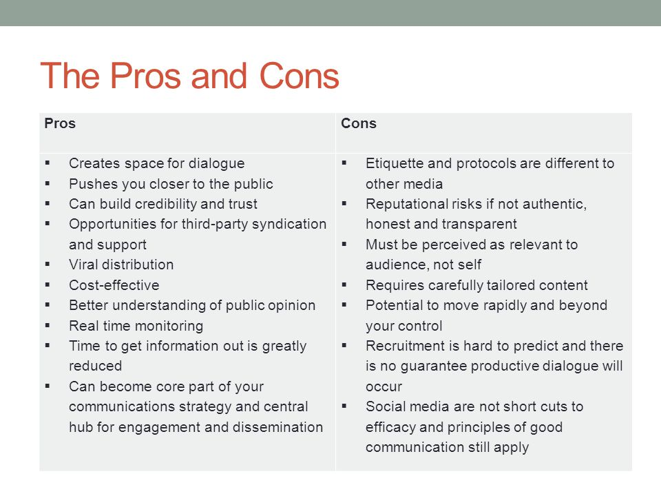 The Pros and Cons Pros Cons  Creates space for dialogue  Pushes you closer to the public  Can build credibility and trust  Opportunities for third