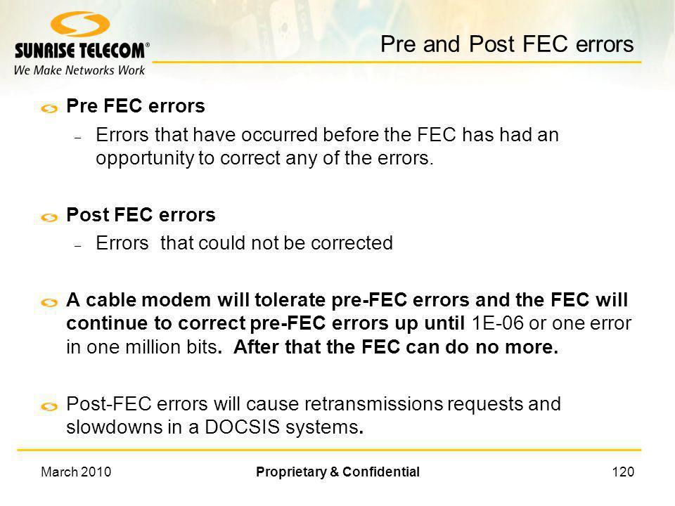 March 2010Proprietary & Confidential119 Forward Error Correction Decoder Forward error correction (FEC) is a digital transmission system that sends re