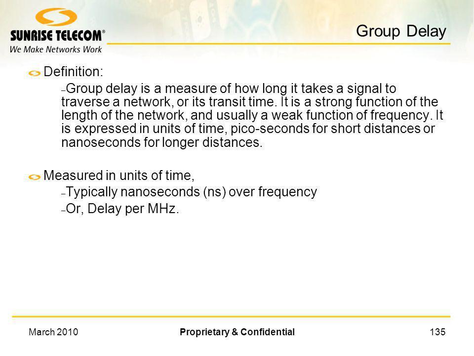 March 2010Proprietary & Confidential134 Amplitude Ripple An in-service spectrum analyzer measurement