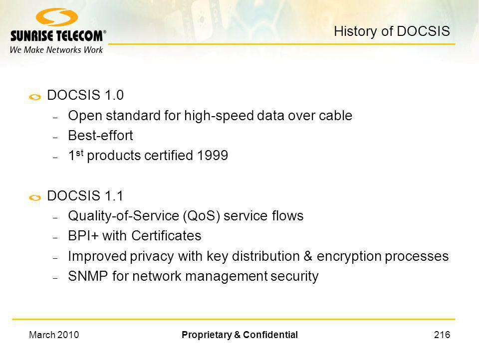 March 2010Proprietary & Confidential215 Troubleshooting DOCSIS Systems