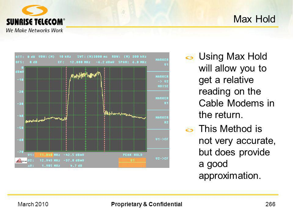 March 2010Proprietary & Confidential265 Upstream Power Measurement Because upstream Cable Modems transmit in very short bursts, it is difficult to mea