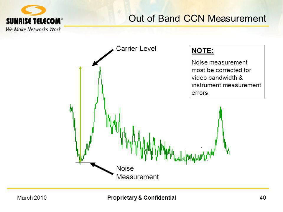 March 2010Proprietary & Confidential39 CCN Measurement Algorithm Measure Carrier Level Measure Noise in a 30KHz Bandwidth Correct for: – Bandwidth of