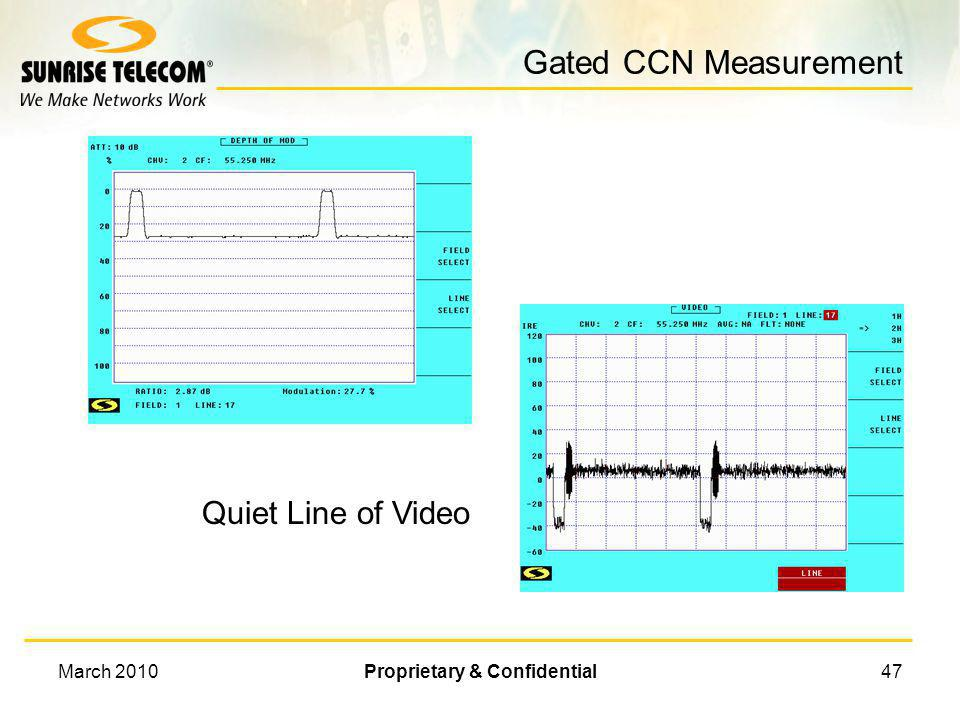 March 2010Proprietary & Confidential46 In Band CCN Measurement Measurement Range CNR NOTE: Noise measurement most be corrected for video bandwidth & i