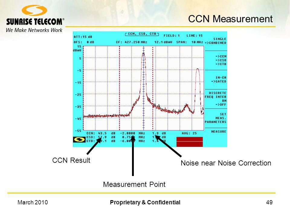 March 2010Proprietary & Confidential48 Setup CCN Measurement n Center frequency = Video carrier frequency IN-CH ==> GATED n Press F5 to setup Measurem