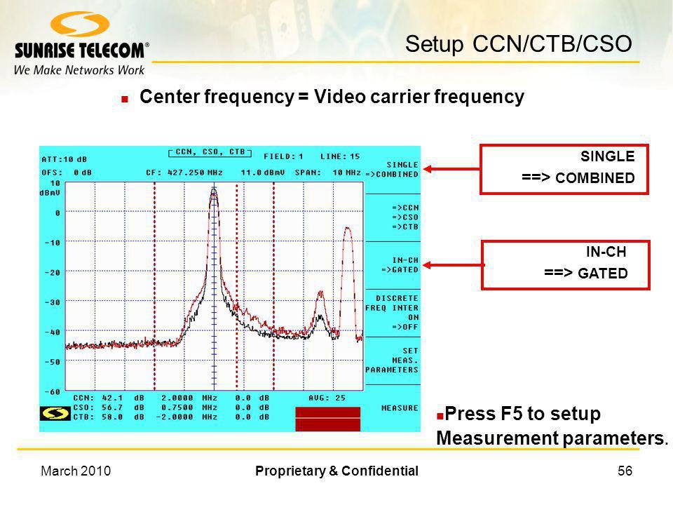 March 2010Proprietary & Confidential55 Manual Measurement Procedures l Measure carrier peak l Turn off carrier l Set 30 kHz resolution bandwidth l Nar