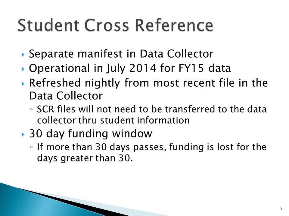  Separate manifest in Data Collector  Operational in July 2014 for FY15 data  Refreshed nightly from most recent file in the Data Collector ◦ SCR files will not need to be transferred to the data collector thru student information  30 day funding window ◦ If more than 30 days passes, funding is lost for the days greater than 30.