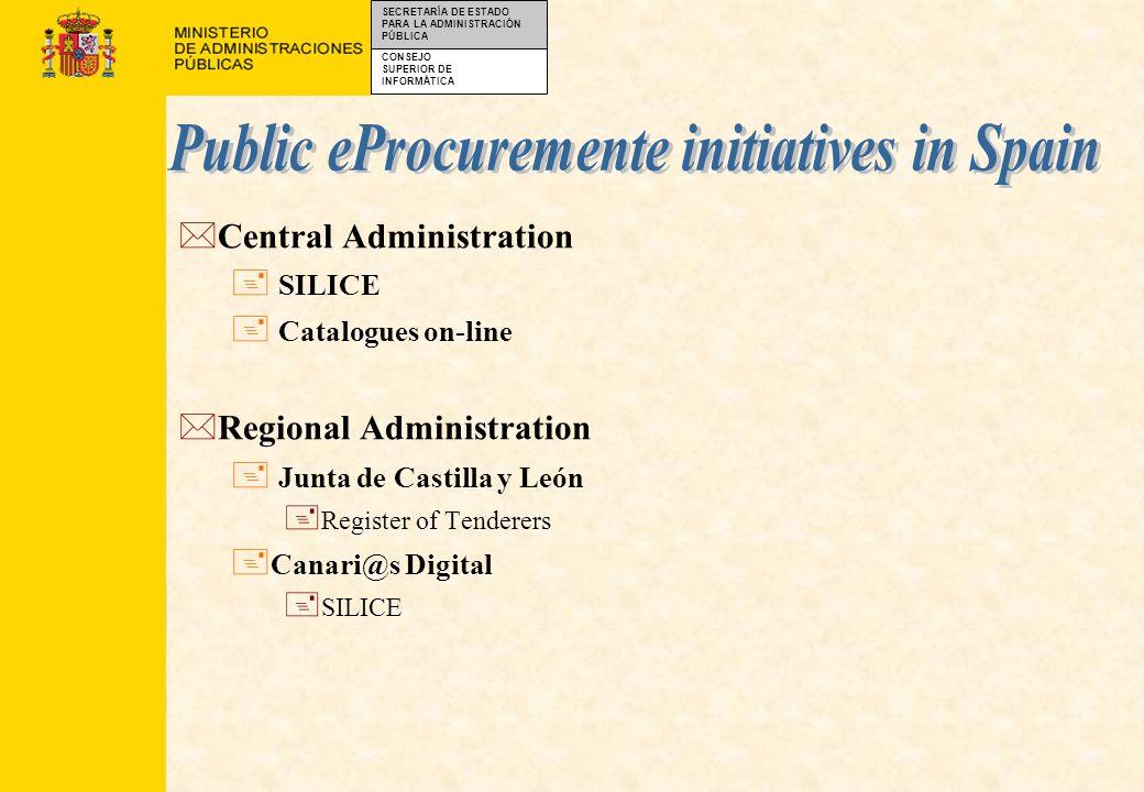 CONSEJO SUPERIOR DE INFORMÁTICA SECRETARÍA DE ESTADO PARA LA ADMINISTRACIÓN PÚBLICA *To define an specification to be followed by the eProcurement tools used in the Spanish central government.