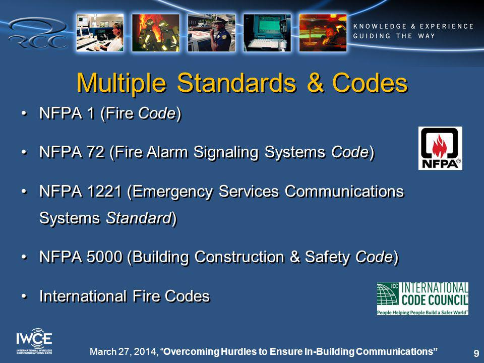 99 March 27, 2014, Overcoming Hurdles to Ensure In-Building Communications Multiple Standards & Codes NFPA 1 (Fire Code) NFPA 72 (Fire Alarm Signaling Systems Code) NFPA 1221 (Emergency Services Communications Systems Standard) NFPA 5000 (Building Construction & Safety Code) International Fire Codes NFPA 1 (Fire Code) NFPA 72 (Fire Alarm Signaling Systems Code) NFPA 1221 (Emergency Services Communications Systems Standard) NFPA 5000 (Building Construction & Safety Code) International Fire Codes