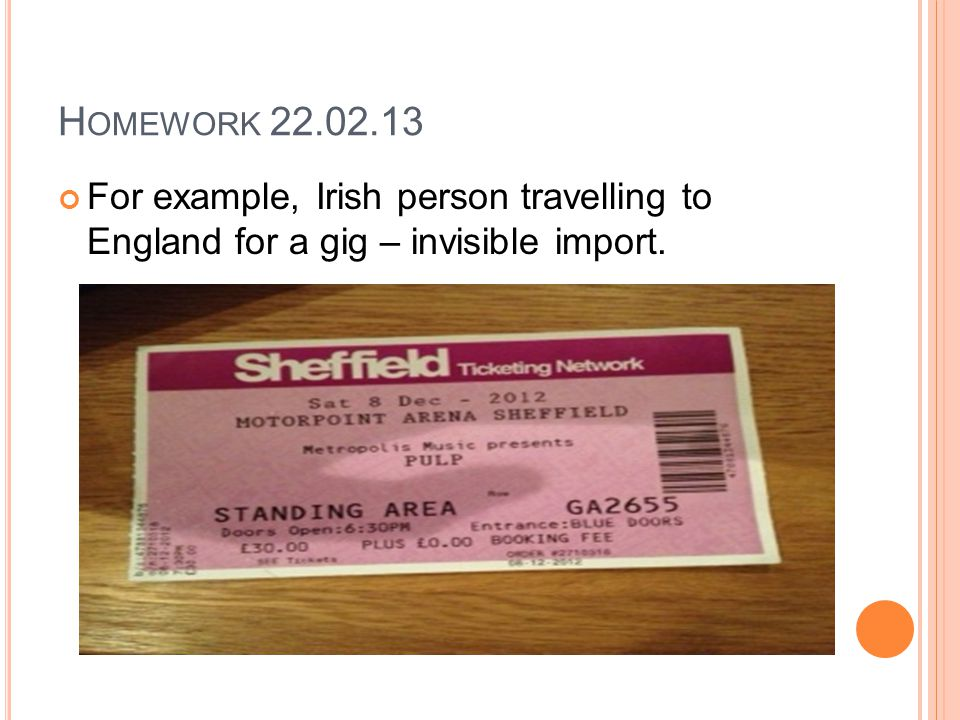 H OMEWORK 22.02.13 For example, Irish person travelling to England for a gig – invisible import.