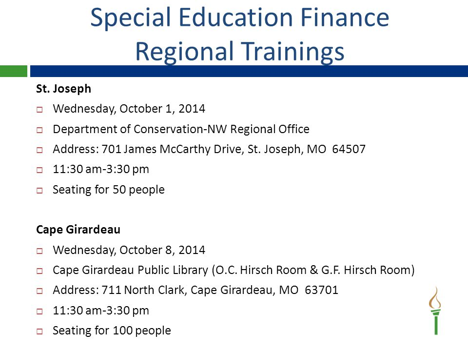 Special Education Finance Regional Trainings St.