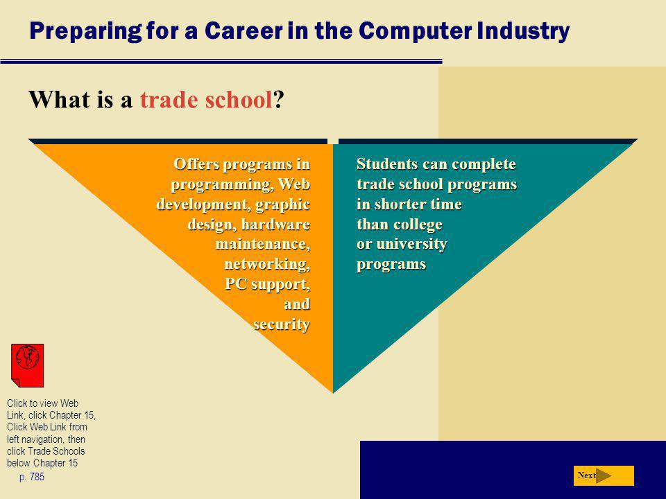 Preparing for a Career in the Computer Industry What is a trade school.