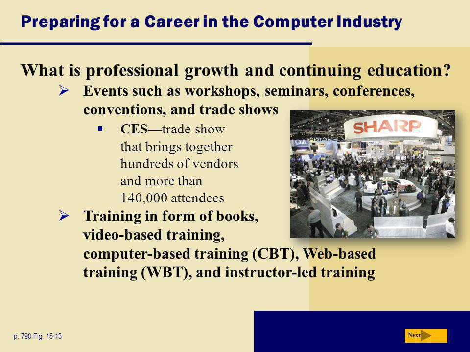 Preparing for a Career in the Computer Industry What is professional growth and continuing education.