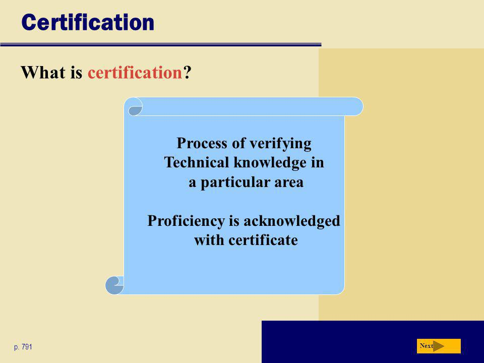 Certification What is certification. p.