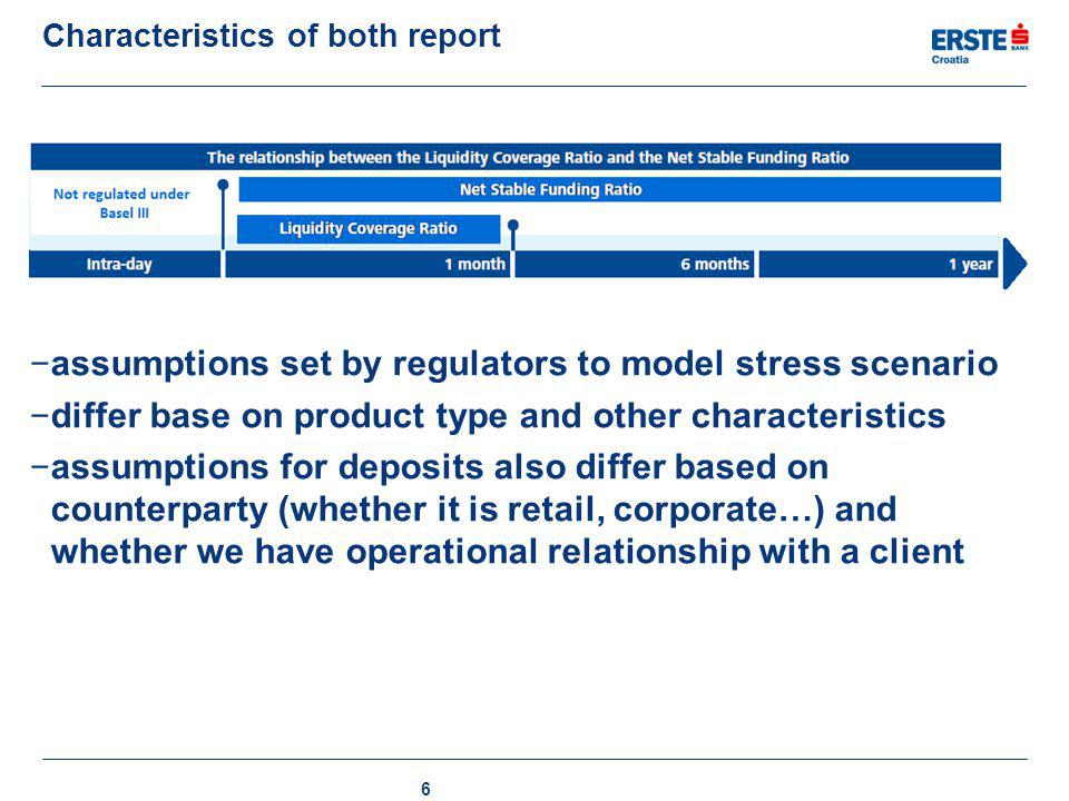 Characteristics of both report − assumptions set by regulators to model stress scenario − differ base on product type and other characteristics − assu