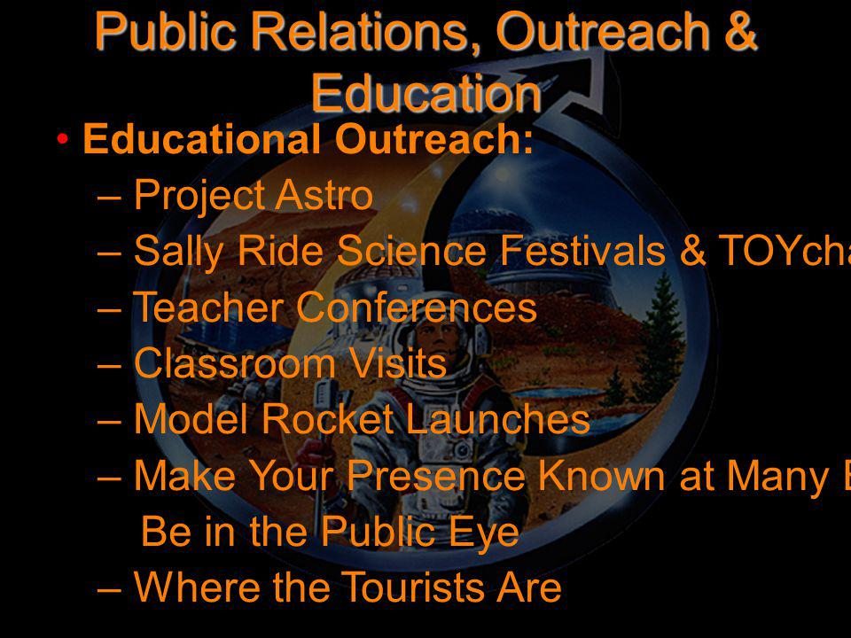Public Relations, Outreach & Education Educational Outreach: – Project Astro – Sally Ride Science Festivals & TOYchallenge – Teacher Conferences – Cla