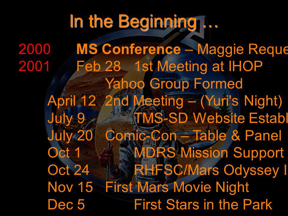 In the Beginning … 2000MS Conference – Maggie Requests a San Diego Chapter 2001Feb 281st Meeting at IHOP Yahoo Group Formed April 122nd Meeting – (Yur