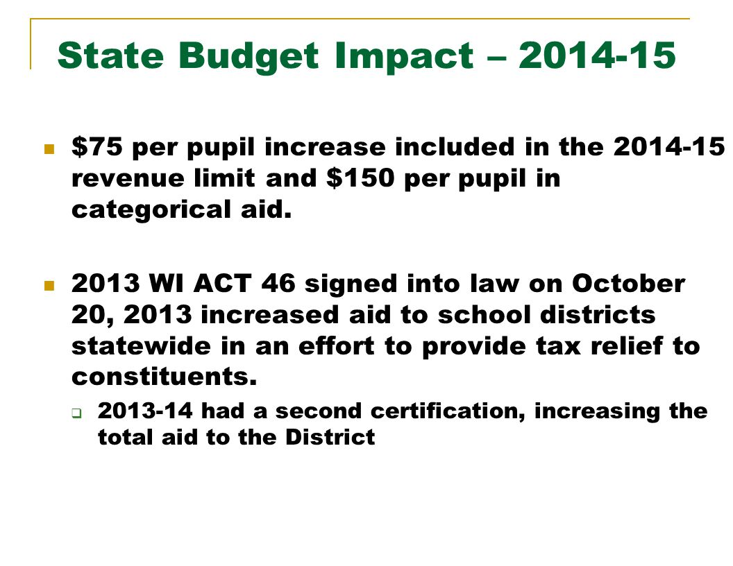 $75 per pupil increase included in the 2014-15 revenue limit and $150 per pupil in categorical aid.