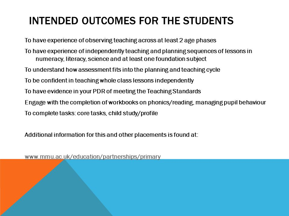 INTENDED OUTCOMES FOR THE STUDENTS To have experience of observing teaching across at least 2 age phases To have experience of independently teaching