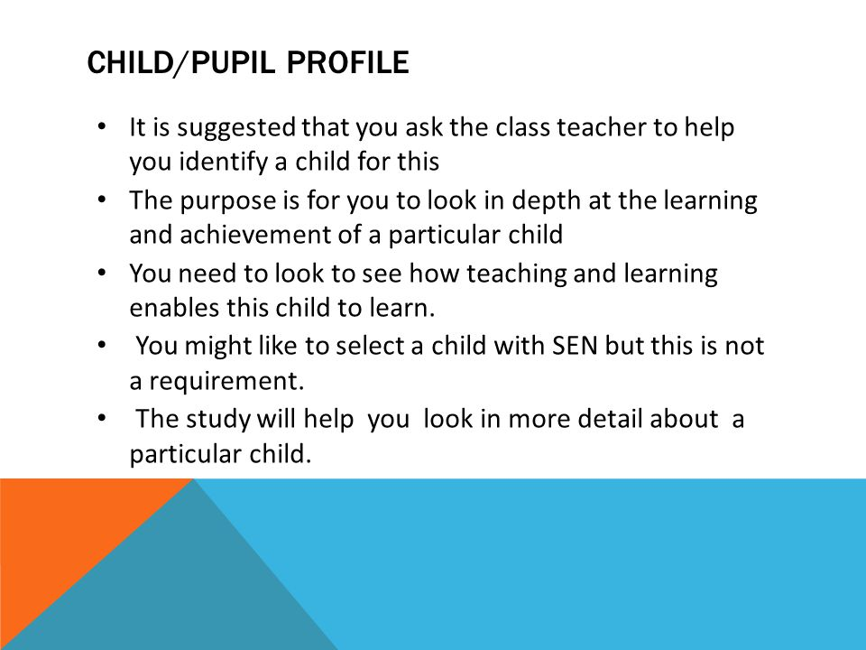 CHILD/PUPIL PROFILE It is suggested that you ask the class teacher to help you identify a child for this The purpose is for you to look in depth at th