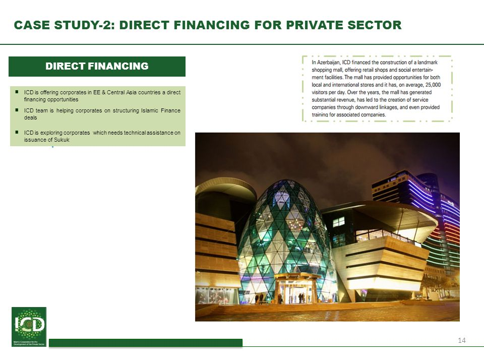 14 CASE STUDY-2: DIRECT FINANCING FOR PRIVATE SECTOR DIRECT FINANCING ■ ICD is offering corporates in EE & Central Asia countries a direct financing o