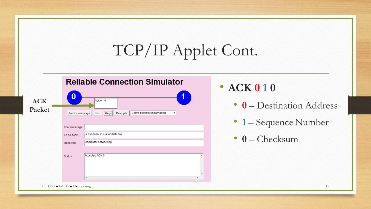 TCP/IP Applet Cont.