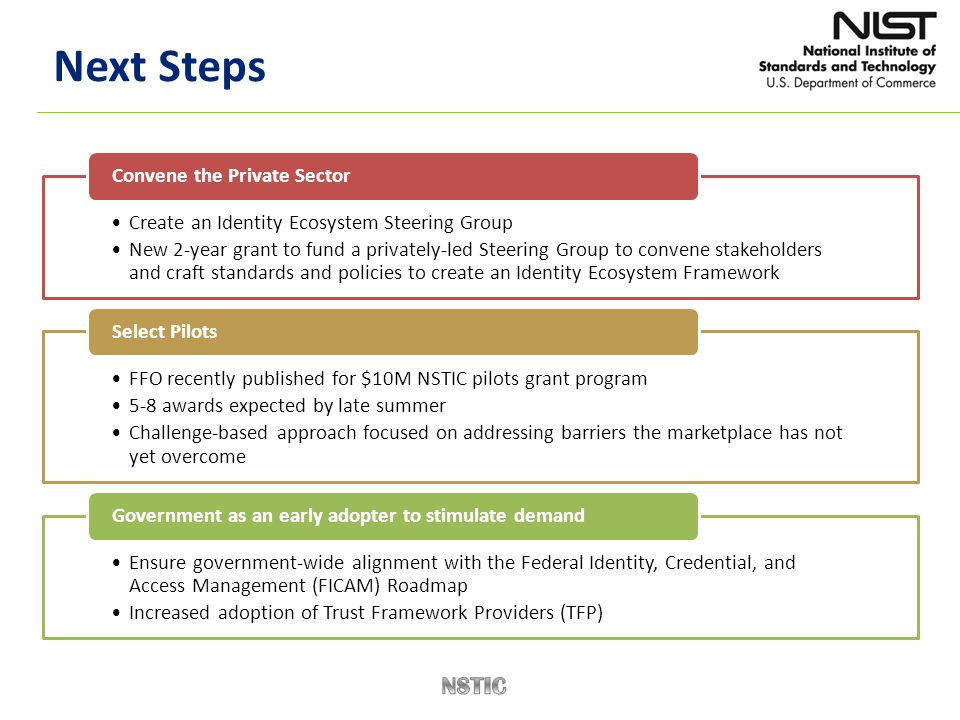 Next Steps Create an Identity Ecosystem Steering Group New 2-year grant to fund a privately-led Steering Group to convene stakeholders and craft stand