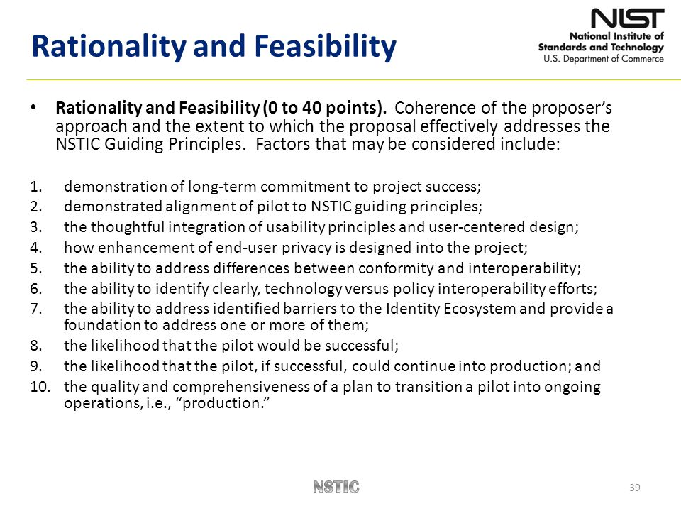 39 Rationality and Feasibility (0 to 40 points).