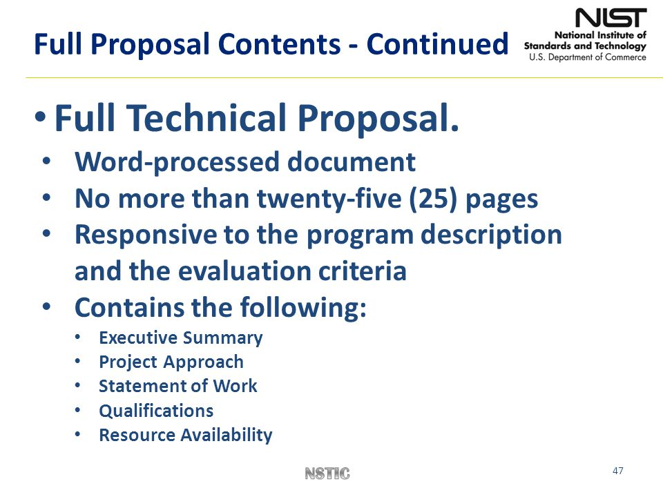 Full Technical Proposal.