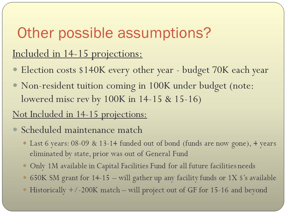 Other possible assumptions.Not included in 14-15 projections, cont'd: Misc.