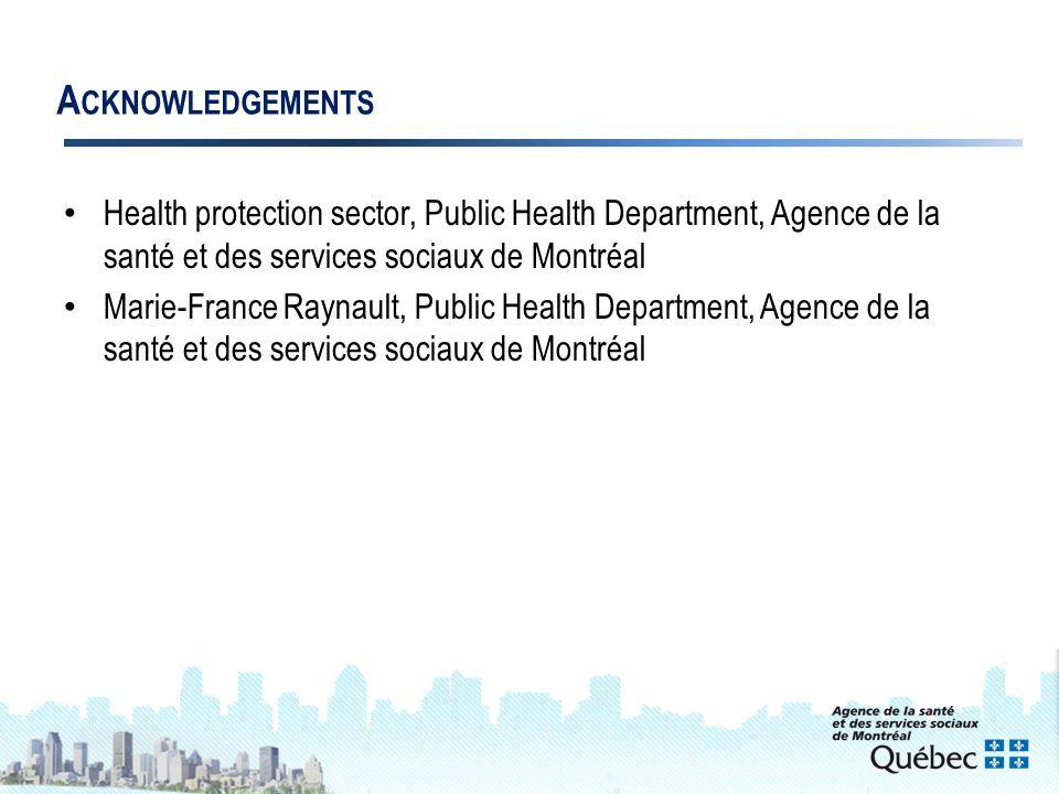 19 A CKNOWLEDGEMENTS Health protection sector, Public Health Department, Agence de la santé et des services sociaux de Montréal Marie-France Raynault, Public Health Department, Agence de la santé et des services sociaux de Montréal