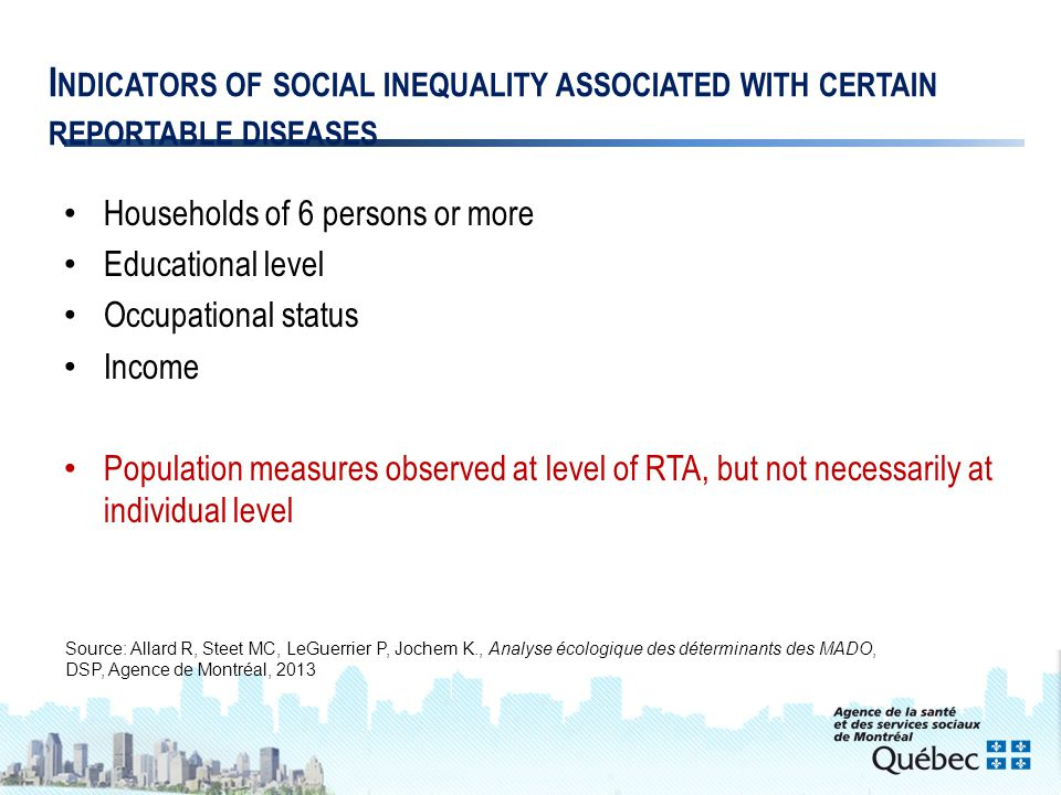 9 I NDICATORS OF SOCIAL INEQUALITY ASSOCIATED WITH CERTAIN REPORTABLE DISEASES Households of 6 persons or more Educational level Occupational status Income Population measures observed at level of RTA, but not necessarily at individual level Source: Allard R, Steet MC, LeGuerrier P, Jochem K., Analyse écologique des déterminants des MADO, DSP, Agence de Montréal, 2013