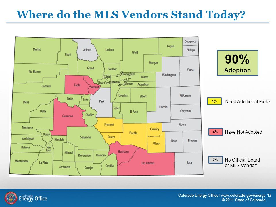 13 Where do the MLS Vendors Stand Today? 4% 2% 4% Need Additional Fields Have Not Adopted No Official Board or MLS Vendor* Colorado Energy Office | ww