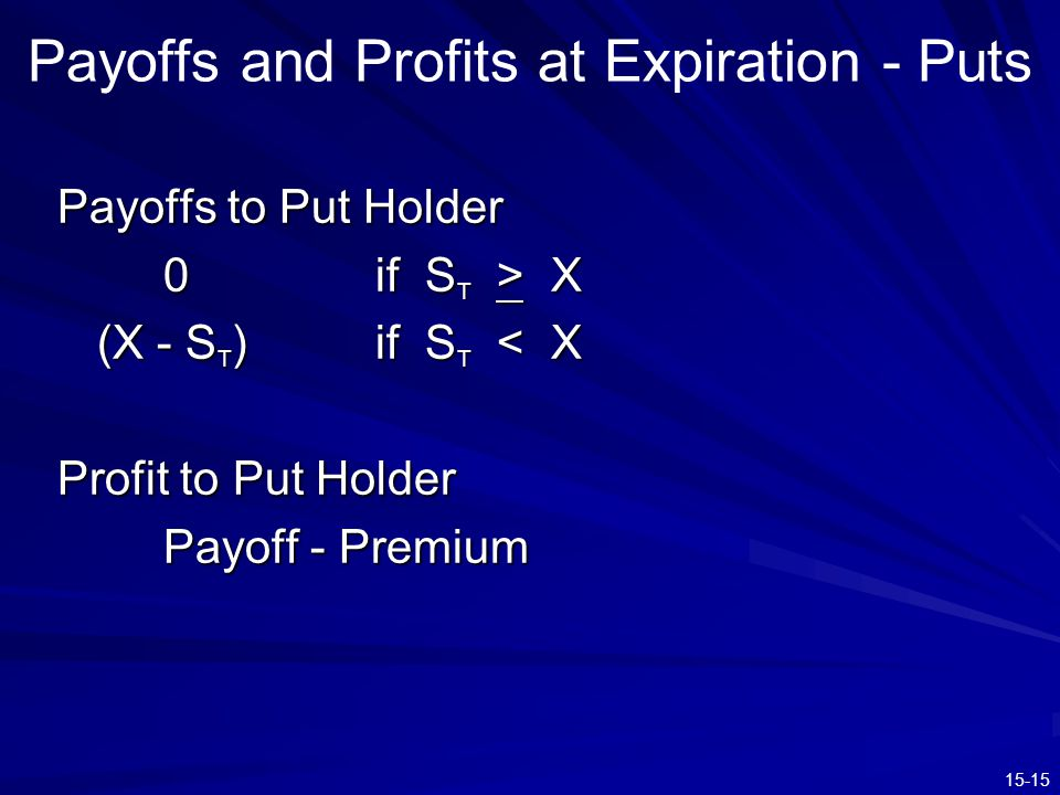 15-15 Payoffs and Profits at Expiration - Puts Payoffs to Put Holder 0if S T > X (X - S T ) if S T < X Profit to Put Holder Payoff - Premium