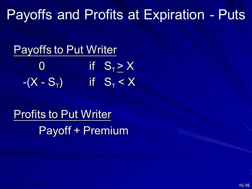 15-16 Payoffs and Profits at Expiration - Puts Payoffs to Put Writer 0if S T > X -(X - S T )if S T < X Profits to Put Writer Payoff + Premium