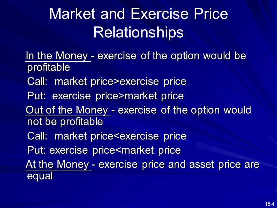15-4 Market and Exercise Price Relationships In the Money - exercise of the option would be profitable In the Money - exercise of the option would be
